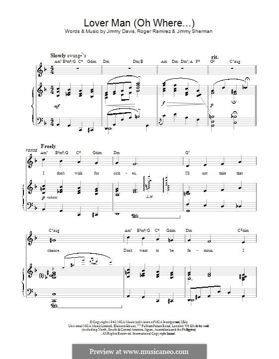 Lover Man (Oh, Where Can You Be?): Para vocais e piano by Jimmie Davis, Jimmy Sherman, Roger Ramirez