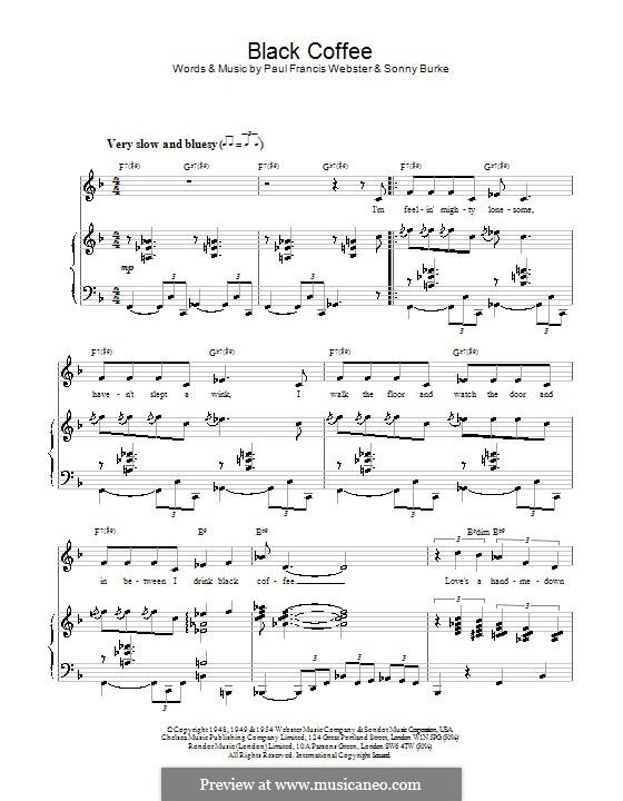 Black Coffee: Para vocais e piano by Sonny Burke