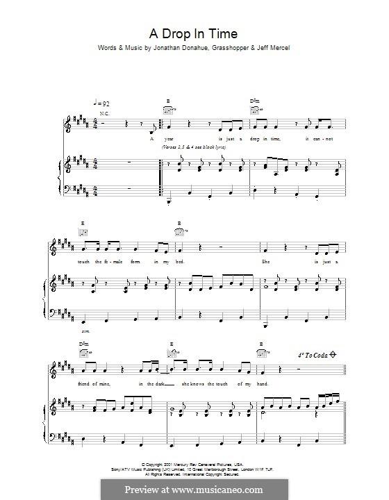 A Drop in Time (Mercury Rev): Para vocais e piano (ou Guitarra) by Jonathan Donahue