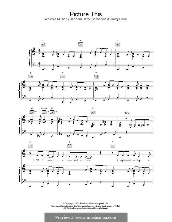Picture This (Blondie): Para vocais e piano (ou Guitarra) by Chris Stein, Deborah Harry, James Mollica Destri