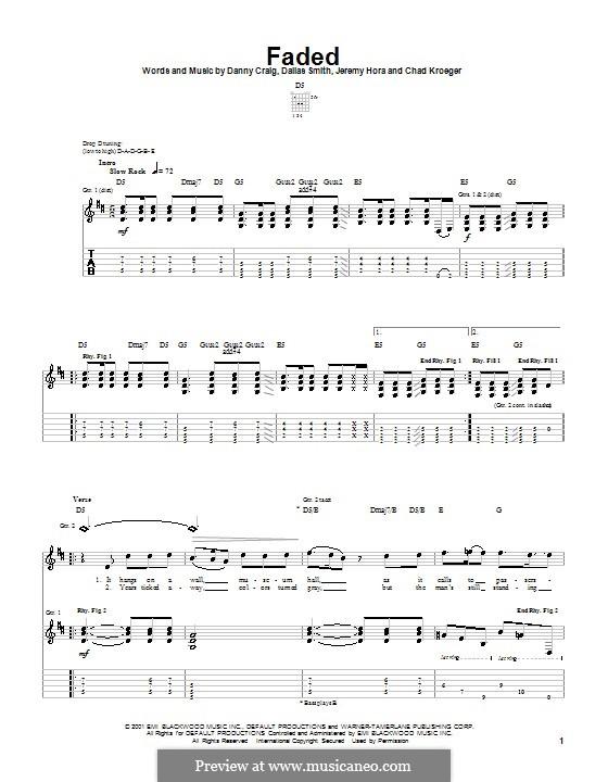 Faded (Default): Para guitarra com guia by Chad Kroeger, Dallas Smith, Danny Craig