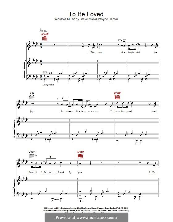 To Be Loved (Westlife): Para vocais e piano (ou Guitarra) by Steve Mac, Wayne Anthony Hector