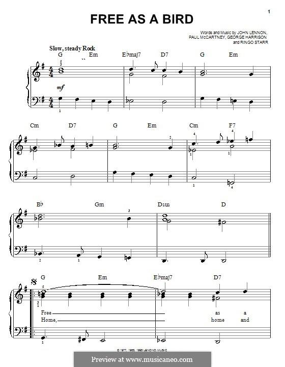 Free as a Bird (The Beatles) : Facil para o piano by John Lennon