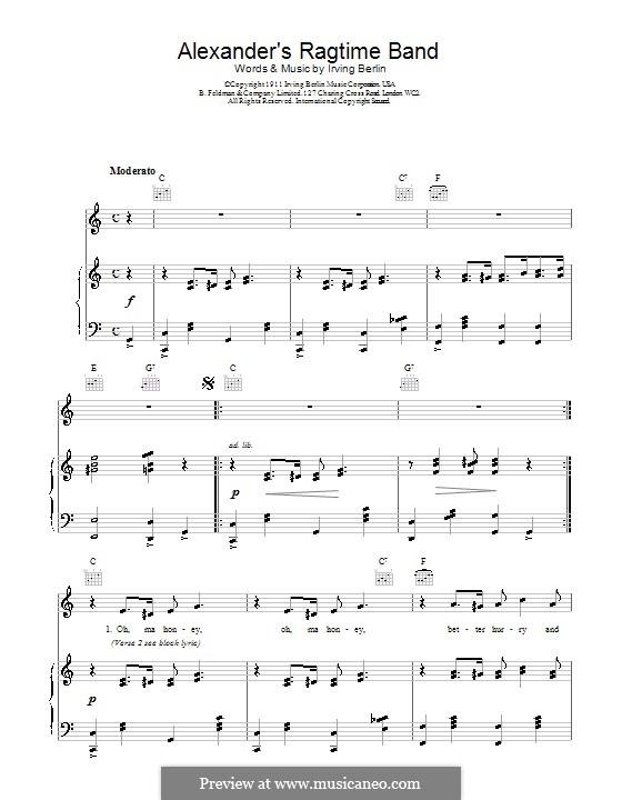 Alexander's Ragtime Band: Para vocais e piano (ou Guitarra) by Irving Berlin