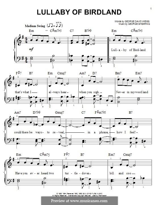 Lullaby of Birdland (Ella  Fitzgerald): Facil para o piano by George Shearing