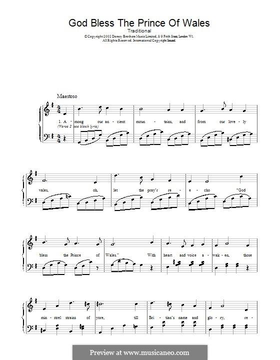 God Bless the Prince of Wales: Para vocais e piano (ou Guitarra) by folklore