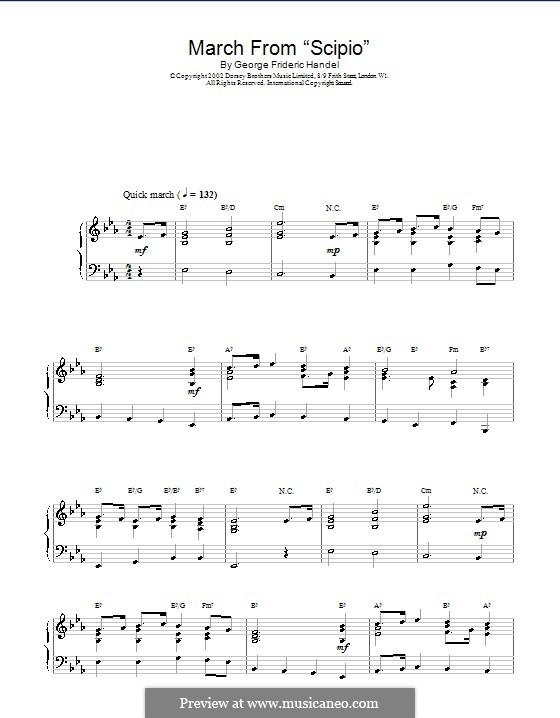 Scipione, HWV 20: March. Arrangement for piano by Georg Friedrich Händel