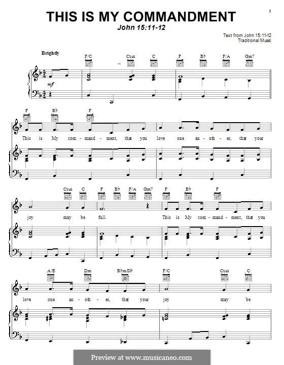 This is My Commandment: Para vocais e piano (ou Guitarra) by folklore