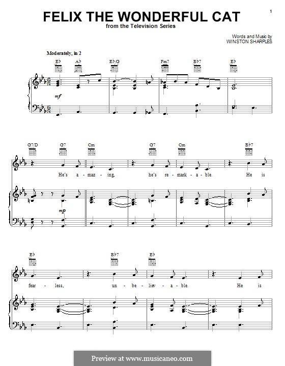 Felix the Wonderful Cat: Para vocais e piano (ou Guitarra) by Winston Sharples