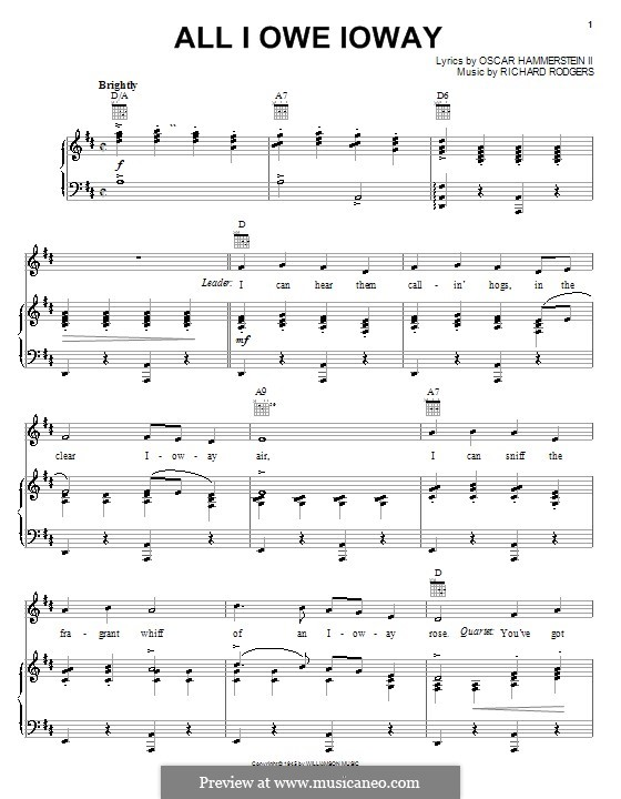All I Owe Ioway (from State Fair): para vocais,piano ou guitarra by Richard Rodgers