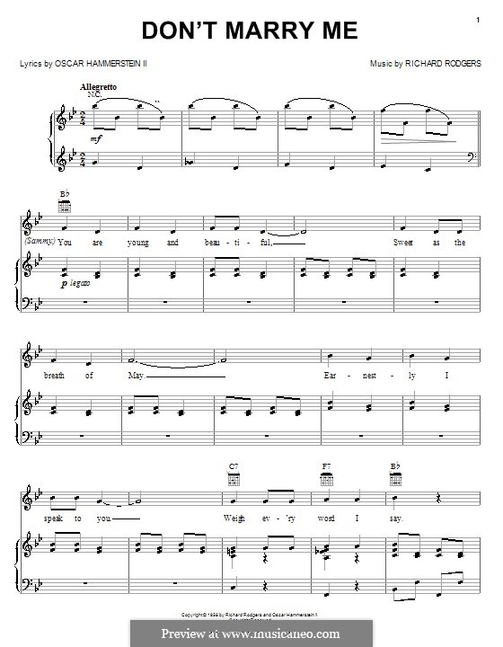 Don't Marry Me (from Flower Drum Song): para vocais,piano ou guitarra by Richard Rodgers