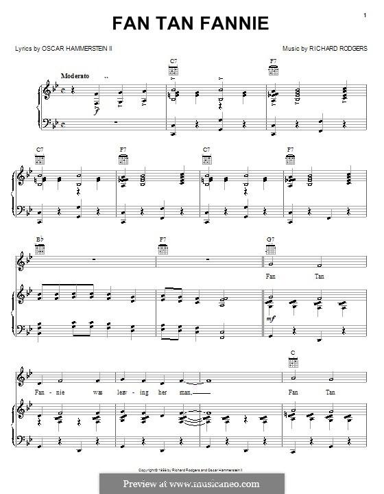 Fan Tan Fannie (from Flower Drum Song): Para vocais e piano (ou Guitarra) by Richard Rodgers