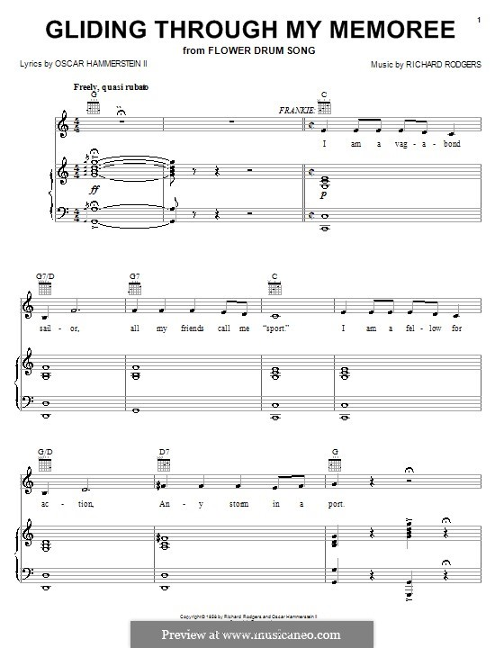 Gliding Through My Memoree (from Flower Drum Song): para vocais,piano ou guitarra by Richard Rodgers