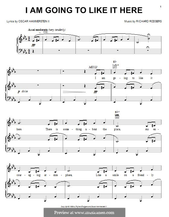 I am Going to Like it Here (from Flower Drum Song): para vocais,piano ou guitarra by Richard Rodgers