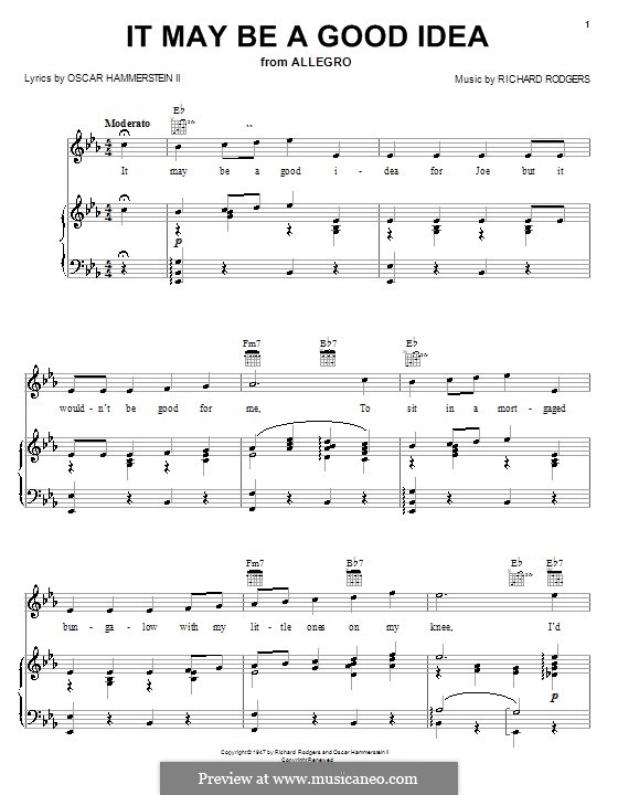 It May Be a Good Idea (from Allegro): para vocais,piano ou guitarra by Richard Rodgers