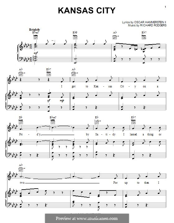 Kansas City (from Oklahoma!): para vocais,piano ou guitarra by Richard Rodgers