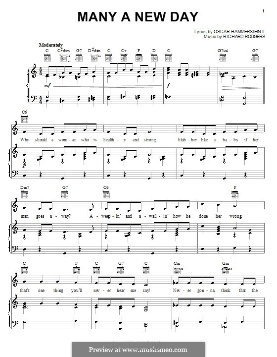 Many a New Day (from Oklahoma!): para vocais,piano ou guitarra by Richard Rodgers