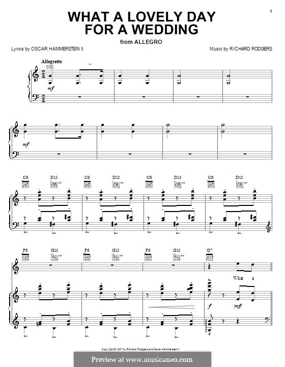 What a Lovely Day for a Wedding (from Allegro): para vocais,piano ou guitarra by Richard Rodgers