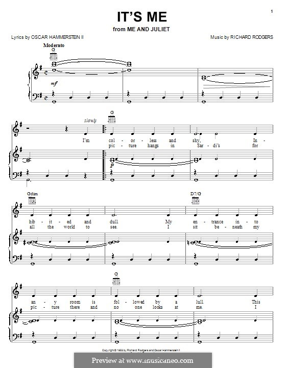 It's Me (from Me and Juliet): para vocais,piano ou guitarra by Richard Rodgers