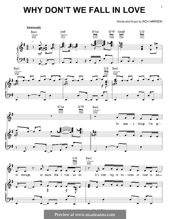 Why Don't We Fall in Love (Amerie): Para vocais e piano (ou Guitarra) by Rich Harrison