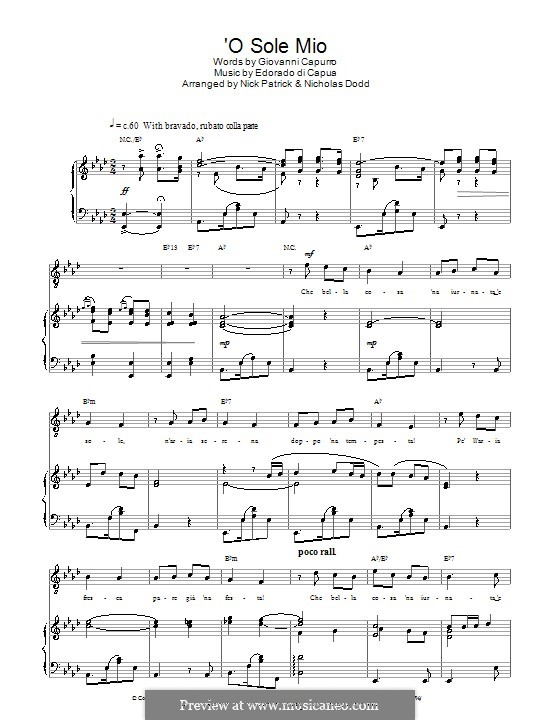 O Sole Mio: For voice and piano or guitar (Russell Watson) by Eduardo di Capua