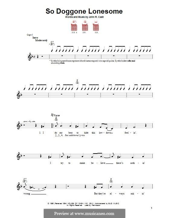 So Doggone Lonesome: para guitarras (com dedilhado) by Johnny Cash