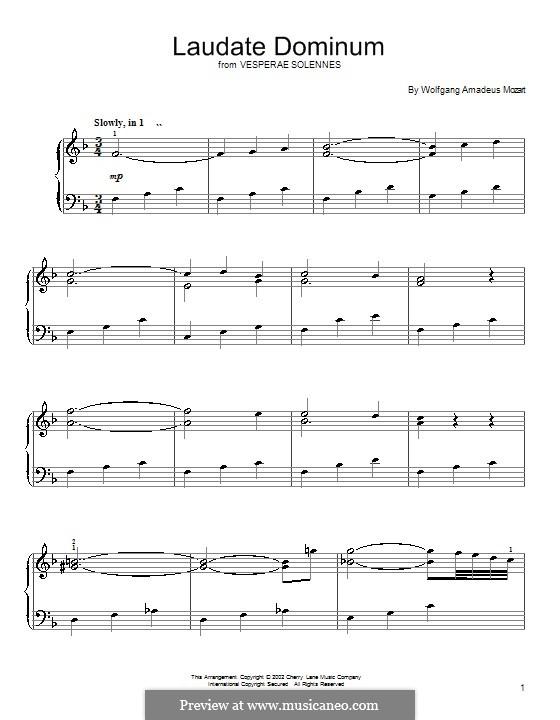 Vesperae solennes de confessore, K.339: Laudate Dominum, for piano by Wolfgang Amadeus Mozart