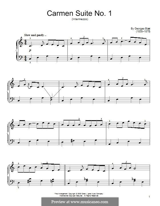 First Suite: No.3 Intermezzo, for piano by Georges Bizet
