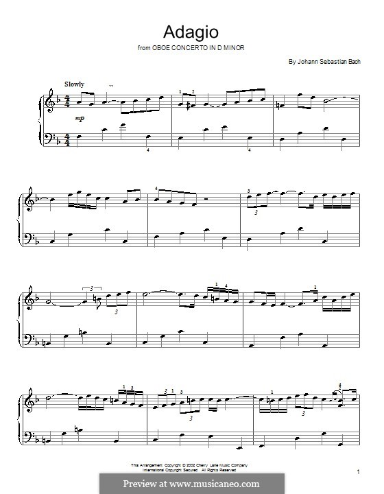 Concerto for Oboe and Orchestra in D Minor, BWV 1059: Adagio. Version for piano by Johann Sebastian Bach