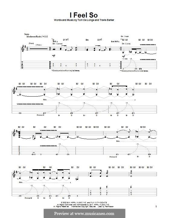 I Feel So (Box Car Racer): Para Guitarra by Tom DeLonge, Travis Barker
