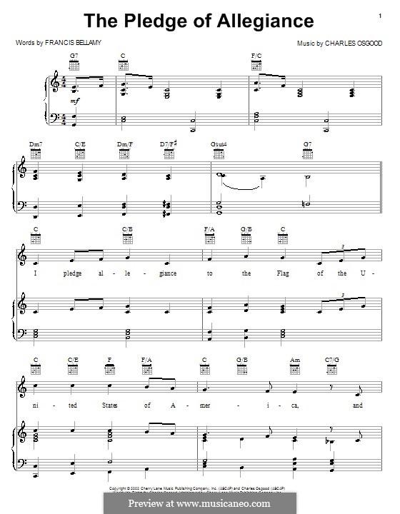 The Pledge of Allegiance: Para vocais e piano (ou Guitarra) by Francis Bellamy