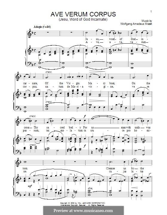 Ave verum corpus (Printabel Scores), K.618: Para vocais e piano by Wolfgang Amadeus Mozart