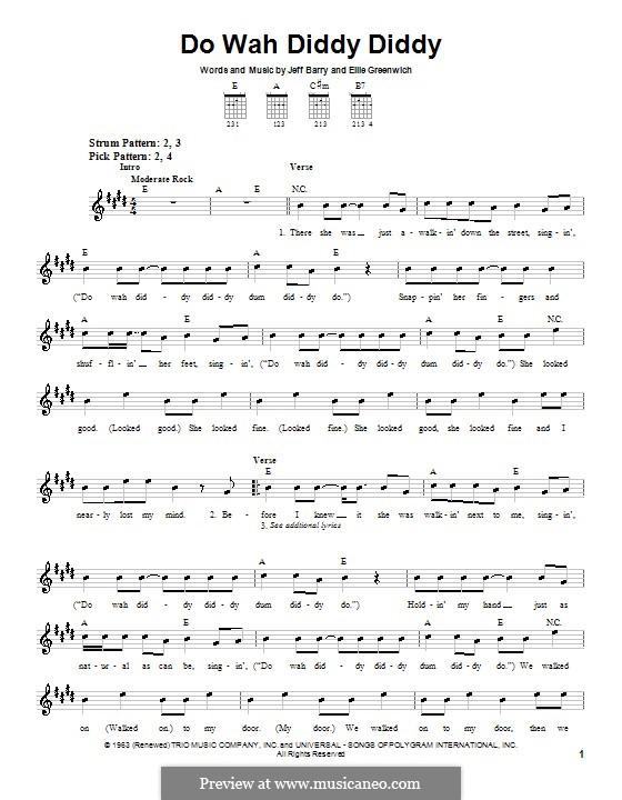 Do Wah Diddy Diddy (Manfred Mann): Para guitarra (versão facil) by Ellie Greenwich, Jeff Barry