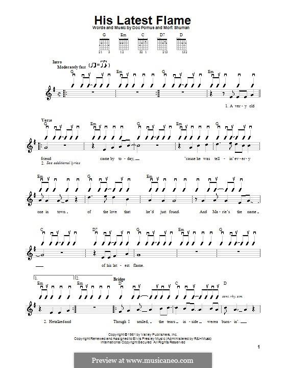 (Marie's the Name) His Latest Flame (Elvis Presley): Para guitarra (versão facil) by Doc Pomus, Mort Shuman