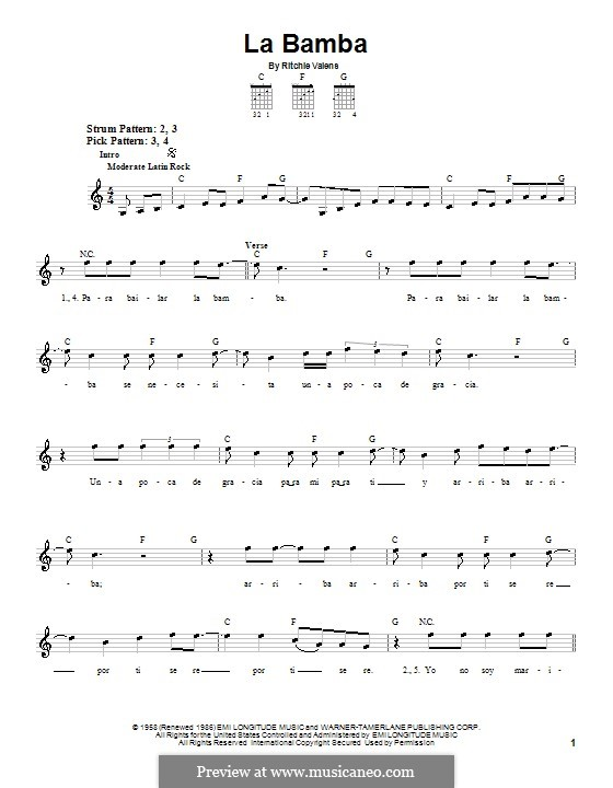 La Bamba: Para guitarra (versão facil) by folklore, Ritchie Valens