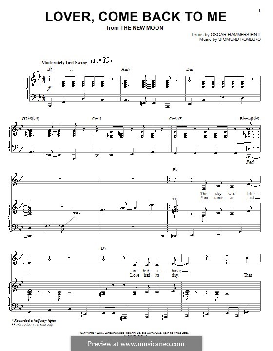 Lover, Come Back to Me (from New Moon): para vocais,piano ou guitarra by Sigmund Romberg