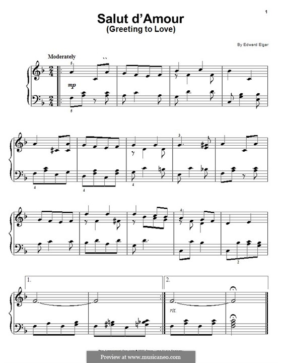 Salut d'amour (Love's Greeting), Op.12: para piano (partituras de alta qualidade) by Edward Elgar