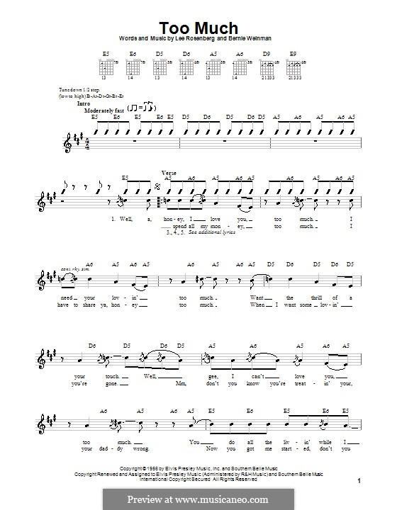 Too Much (Elvis Presley): Para guitarra (versão facil) by Bernard Weinman, Lee Rosenberg