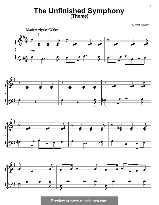 Symphony No.8 in B Minor 'Unfinished', D.759: Theme. Arrangement for piano (very easy version) by Franz Schubert