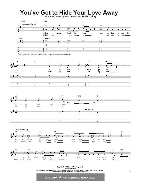 You've Got to Hide Your Love Away (The Beatles): para baixo com guia by John Lennon, Paul McCartney