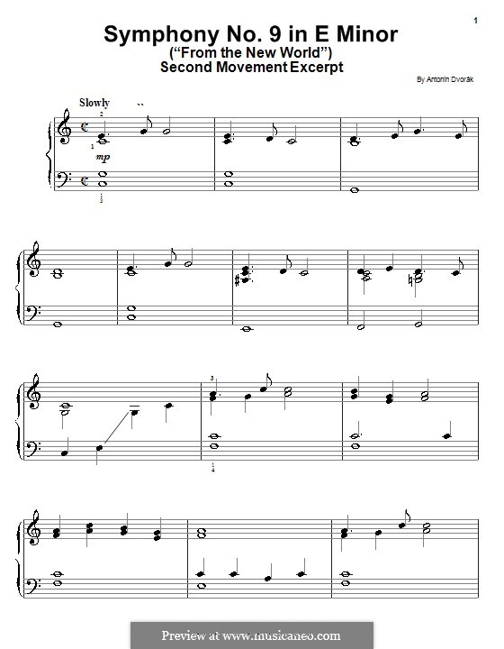 Movement II (Largo) Printable Scores: Excerpt, for easy piano by Antonín Dvořák