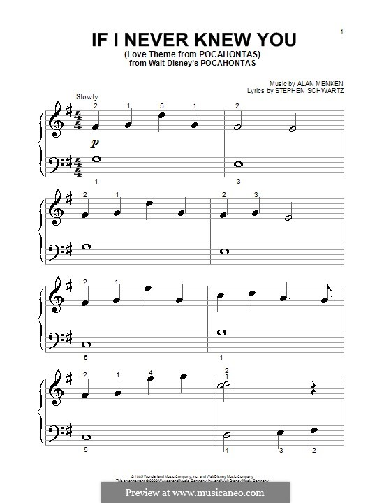If I Never Knew You (Love Theme from Pocahontas): para piano (versão facil) by Alan Menken