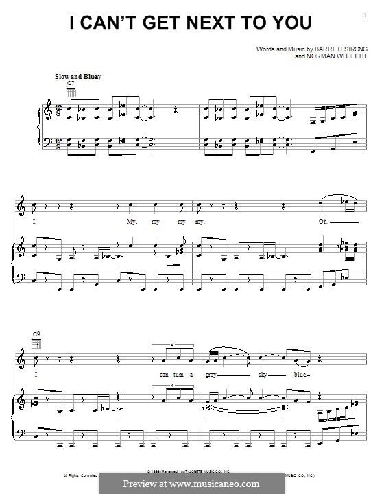 I Can't Get Next to You (The Temptations): Para vocais e piano (ou Guitarra) by Barrett Strong, Norman J. Whitfield
