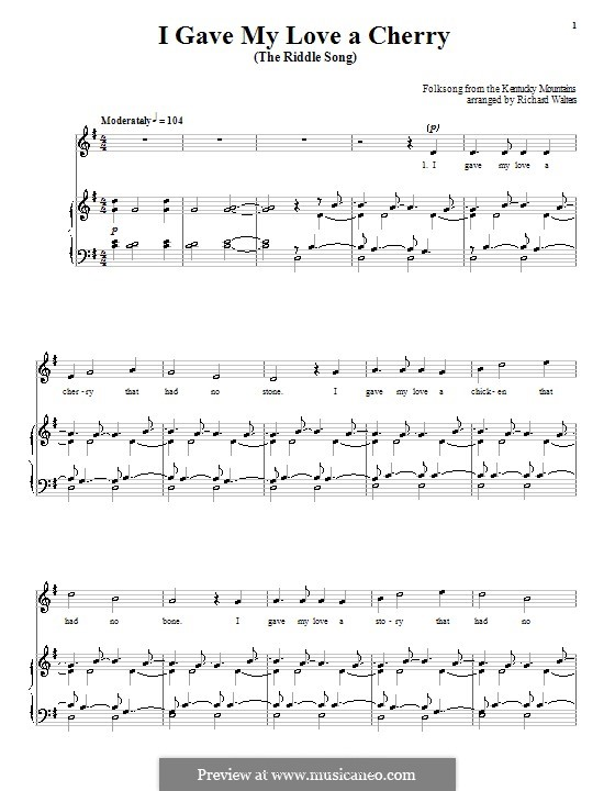 I Gave My Love a Cherry (The Riddle Song): Para vocais e piano (ou Guitarra) by folklore
