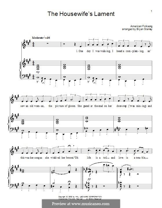 The Housewife's Lament: Para vocais e piano (ou Guitarra) by folklore