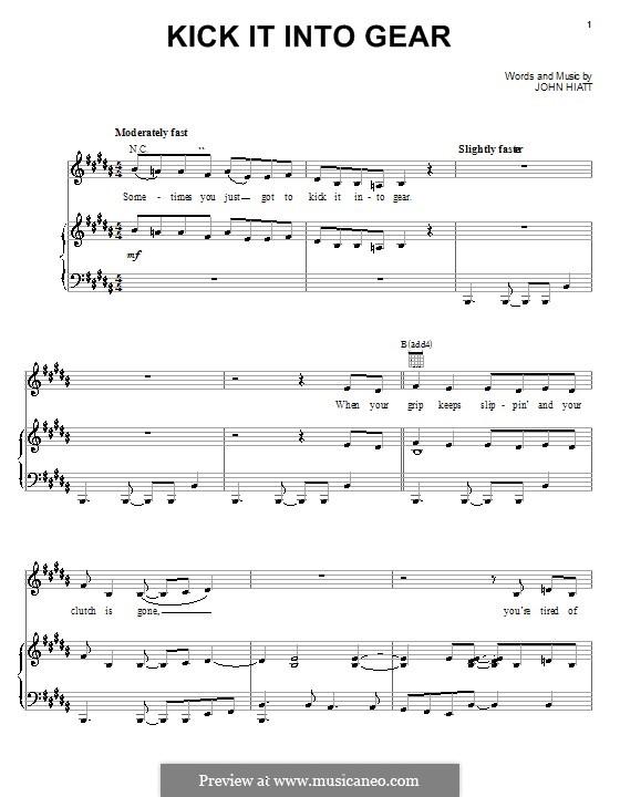 Kick It Into Gear (from The Country Bears): Para vocais e piano (ou Guitarra) by John Hiatt