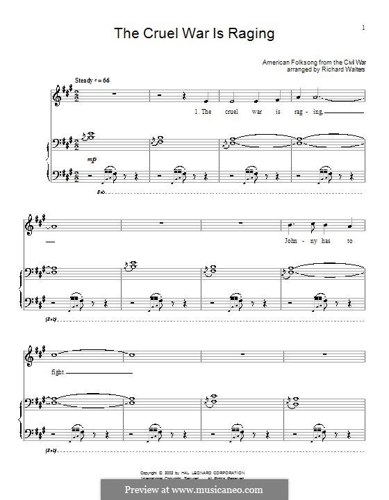 The Cruel War Is Raging: Para vocais e piano (ou Guitarra) by folklore