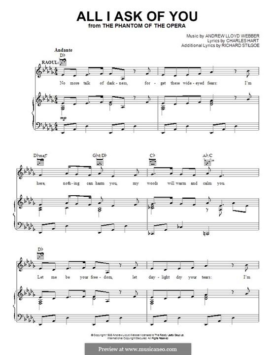 All I Ask of You: Para vocais e piano (ou Guitarra) by Andrew Lloyd Webber