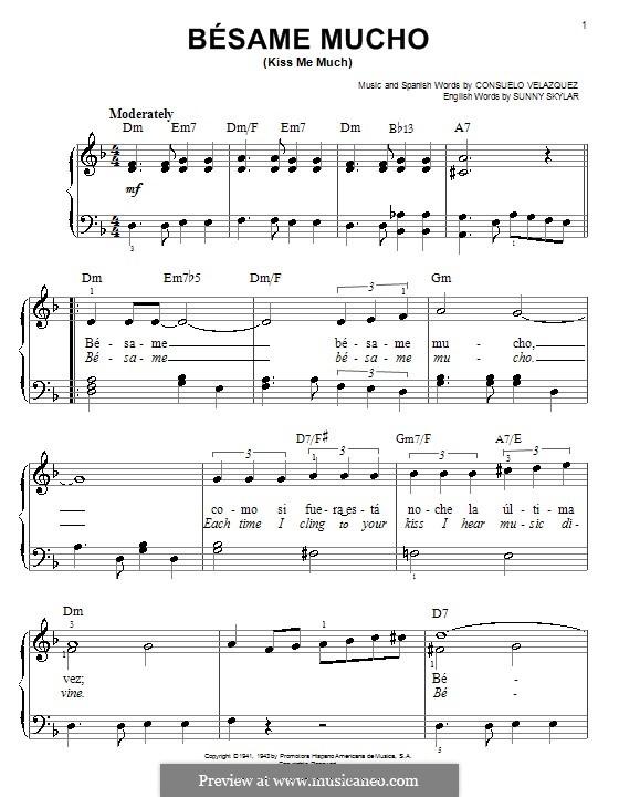 Besame Mucho (Kiss Me Much): Facil para o piano by Consuelo Velazquez