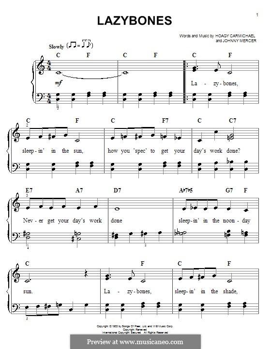 Lazybones: Facil para o piano by Johnny Mercer